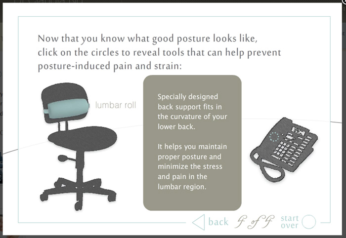 Content and design for online interactive tutorial on proper desk posture.