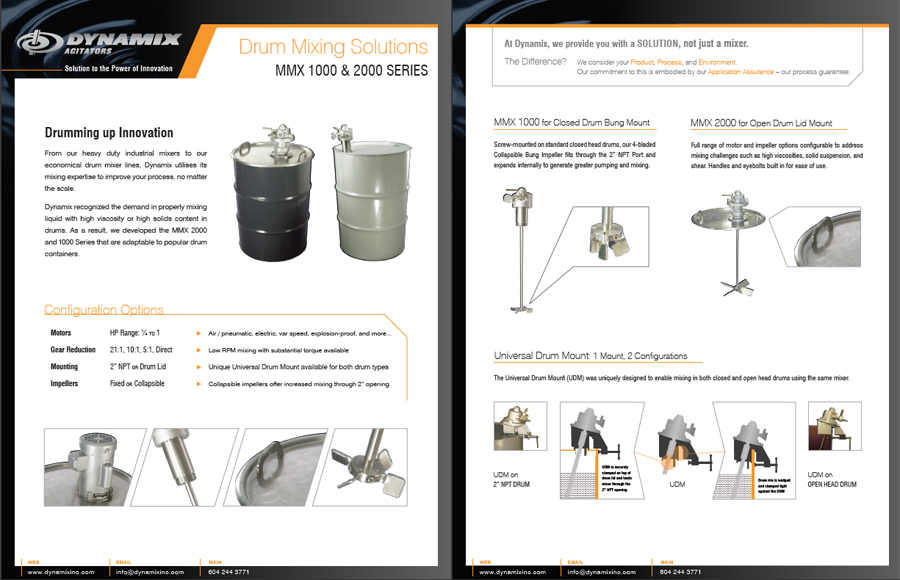 Strategy and content for sales collateral on industrial tank mixers.